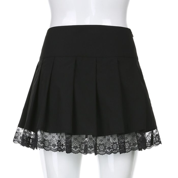 Lace Up Goth Y2K Pleated Skirt Punk Style Mini Skirts