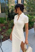 Short Sleeve Buttons Patchwork Slit Sexy Dress