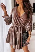 Elegant A-Line V Neck Slim Velvet Mini Dress