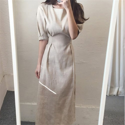 Office Lady Cotton Linen Loose Casual Dresses