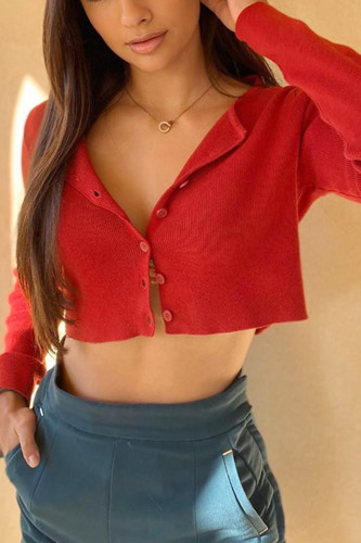 Turn-down Collar Knitted Cardigans Ribbed Cropped Top
