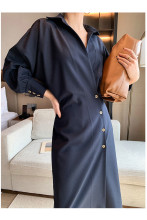 Solid Elegant Dress Long Sleeve Retro Midi Dress