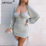 Knitted Long Lantern Sleeve Dress Solid Casual Bodycon Dresses