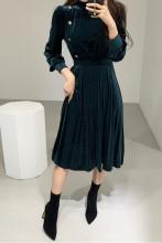 Retro Velvet Office Lady Slim Elegant Maxi Dresses