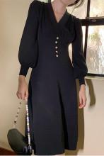 Elegant Midi Dress Casual Slim Button Fall Dresses