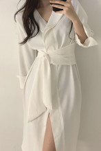Minimalist Elegant Lace Up Loose Casual Dresses