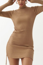Long Sleeve Ribbed Ruched Bodycon Mini Dress