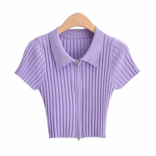 Short Sleeve Basic T-shirt Knitted Tee Crop Top