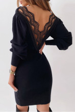 Lace Backless Hollow out Party Dresses V Neck Lantern Sleeve Dress