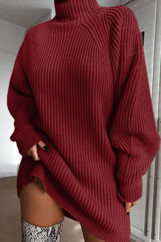 Women Turtleneck Knitted Sweater Dress Loose Oversized Dresses