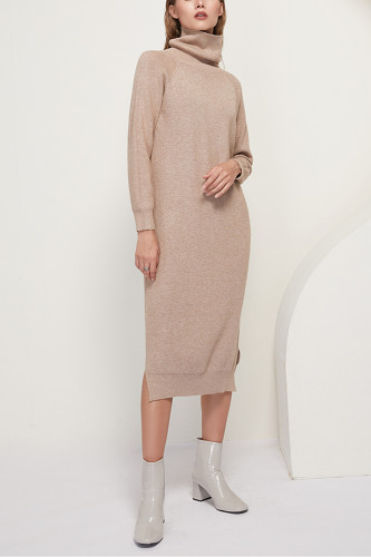 Solid Knitted Long Dress Turtleneck Long Sleeve Sweater Dress
