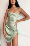 Satin Speghetti Strap Mini Dress Ruched Backless Bodycon Dress