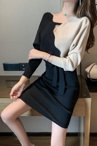 Elegant Sashes V Neck Knitted Sweater Dress