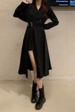 Elegant Long Sleeve Notched Collar Office Slim Dresses