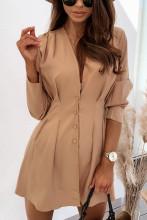 Elegant Sexy V-neck Casual Button Mini Dress
