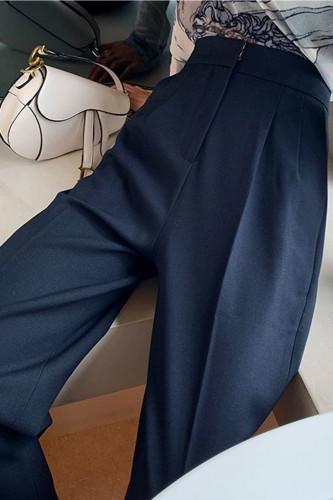 High Waist Wide Leg Pants Vintage Temperament Long Trousers