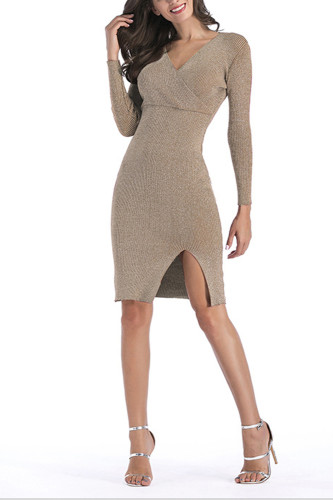 Shining V Neck Knitted Dress Slim Bodycon Midi Dress