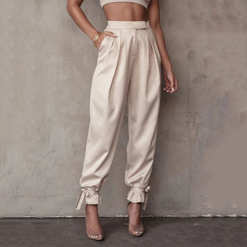 Lace Up Pencil Pants High Waist Casual Pockets Zipper Trousers