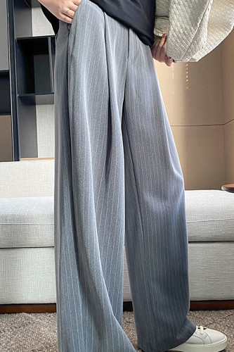 Long Striped Wide Pants High Waist Casual Trousers