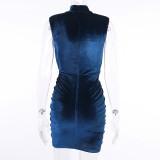 Vintage Turtleneck Velvet Pleated Dress Sleeveless Bodycon Dress