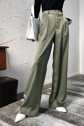 Satin High Waist Wide Leg Pants Loose Stretch Trousers