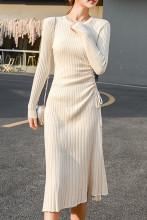 Slim Sweater Dress Elegant Knit Drawstring Dress