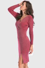 Shining V Neck Knitted Dress Slim Bodycon Midi Dress