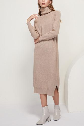 Solid Knitted Long Dress Turtleneck Long Sleeve Sweater Dress