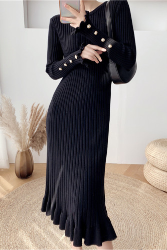 Elegant Knit Sweater Dress Slim Trumpet Midi Dress