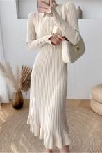 Elegant Knit Sweater Dress Slim Trumpet Midi Dress