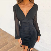 Women Long Sleeve Chiffon Dress Pleated Bodycon Dress