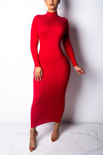 Long Sleeve Turtleneck Solid Casual Basic Bodycon Slim Dress