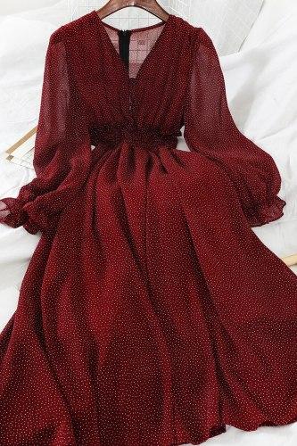 V Neck Polka Dot Slim Chiffon Dress Button Puff Sleeve Elegant Dress