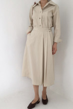 Office Ladies Long Sleeve Elastic High Waist A-line Dress