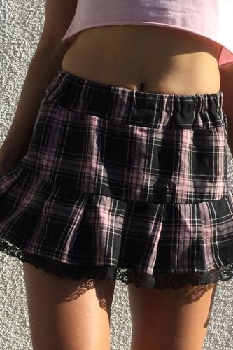 Striped Plaid Y2K Skirts Womens Lace Trim Hem Mini Skirt