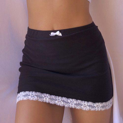 Lace Hem Gothic Y2k Skirt E Girl Low Waist Mini Skirts