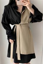 Elegant Lace-up False Two Pieces Shirt Dress