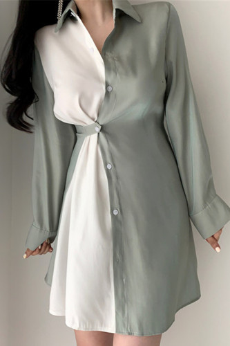 Casual Turn-down Collar Patchwork Shirt Dress