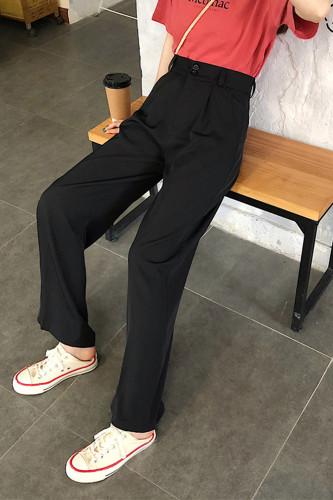 Women Wide Leg Pants High Waist Pockets Long Trousers