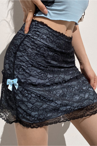 Patchwork Lace Gothic Y2K Skirt Punk Style Mini Skirts