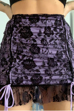 Drawstring Mesh Goth Y2k Skirts Lace Up Egirl Mini Skirt