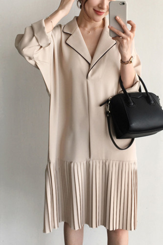 Elegant Notched Collar Pleated Loose Dresses