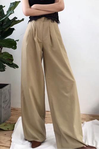 Women's Wide Leg Pants High Waist Zipper Pocket Long Trousers
