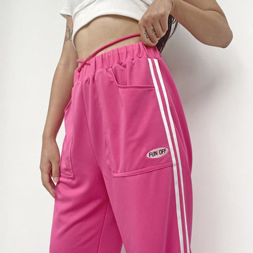 Y2K Aesthetics Mid Waist E-girl Striped Loosed Trousers