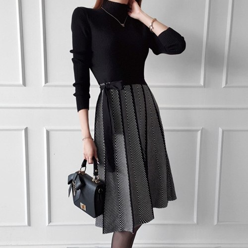 Turtleneck Geometry Patchwork  Knitted Sweater Dress