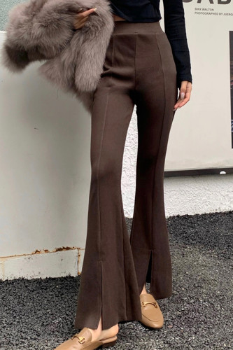 Skinny Split Flare Pants Women Slim High Waist Vintage Trousers