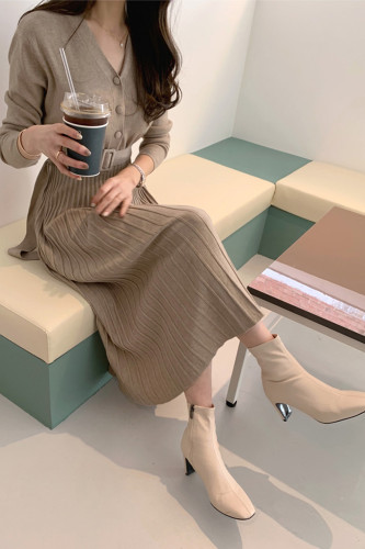 Knitted Long Pleated Dress A-Line Elegant Sweater Dresses