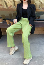 Vintage Velvet High Waist Wide Leg Pants Loose Casual Trousers