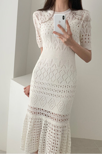 Knitted Elegant Hollow Out High Waist Midi Dresses