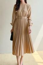 Elegant Belted Slim Waist Office Ladies Pleated Dresses